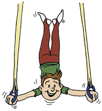 Drawing of boy on the rings